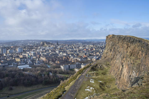 Edinburgh skyline seen from Salisbury Crags, Arthur's Seat.
