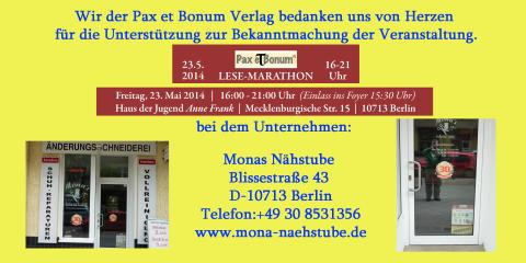 Wir der Pax et Bonum Verlag bedanken uns von Herzen bei Monas Nähstube  für die Unterstützung zur Bekanntmachung der Veranstaltung.