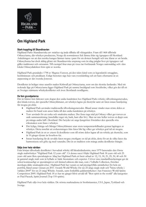 Faktablad Highland Park