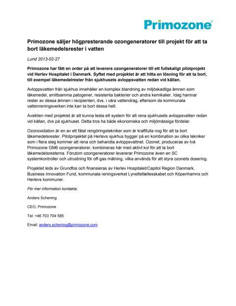 Primozone säljer till projekt för borttaganing av läkemedelsrester på Herlev Hospitalet i Danmark