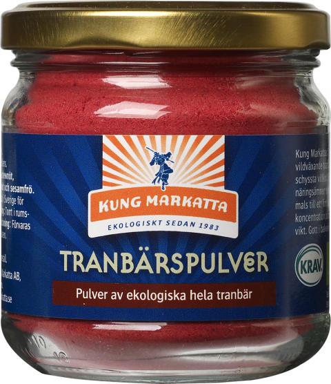 Kung Markatta breddar sitt sortiment av KRAV-märkta bärpulver och lanserar nu Tranbärspulver