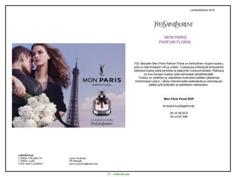 Lehdistötiedote Yves Saint Laurent Mon Paris Floral EdP
