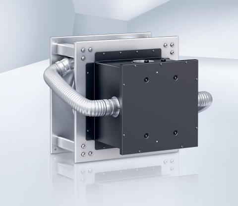 Centrifugalfläkt för kommersiella kök där EC-motorn skyddas från fettångor och het luft