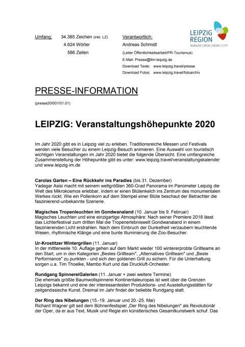 LEIPZIG - Veranstaltungshöhepunkte 2020