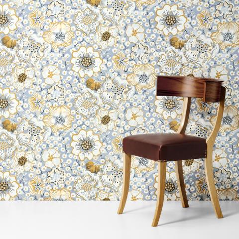 """Wallpaper """"Eldblomman"""" by Josef Frank."""
