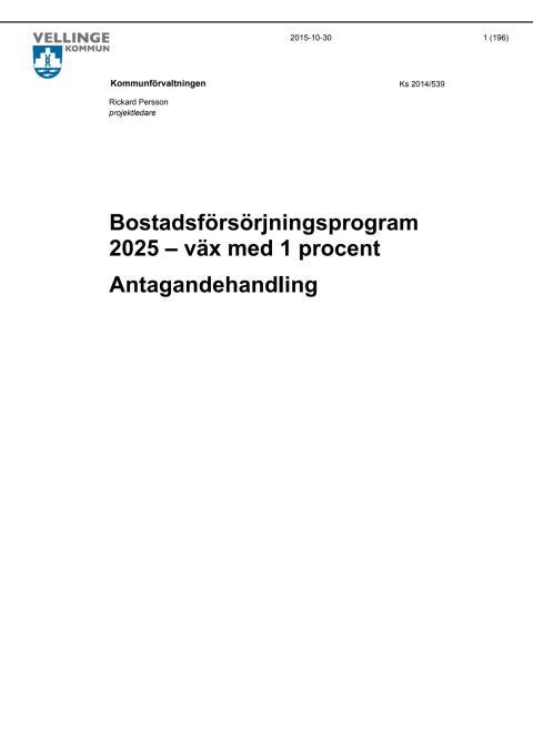 Bostadsförsörjningsprogram för Vellinge kommun