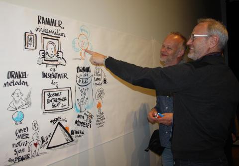 Prosjektleder Lars Kobro synes tegner Tor Erling Naas har fanget mange poenger under workshopen.