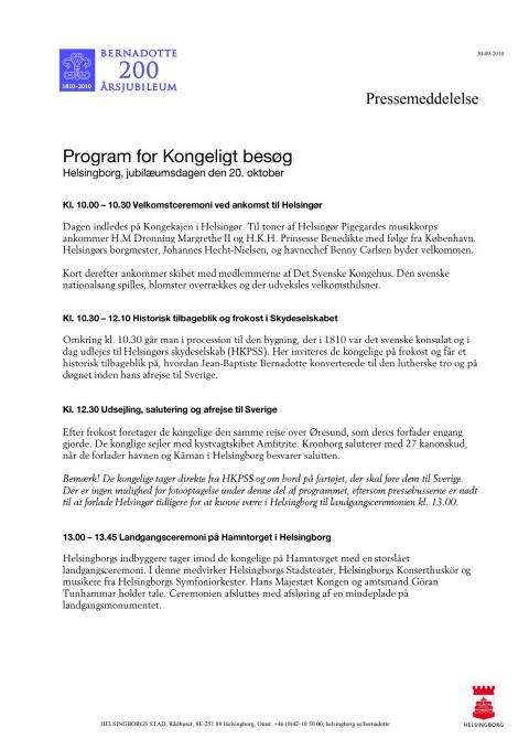 Program for Kongeligt besøk, Helsingborg, jubilæumsdagen den 20. oktober