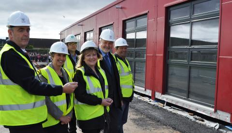 Councillors inspect new classrooms at Millbank Primary, Buckie