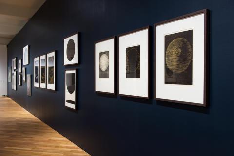 Anna-Eva Bergman. Installasjonsfoto, Rom III Univers/Måne/Stjerne/Planet, Nasjonalmuseet 2015