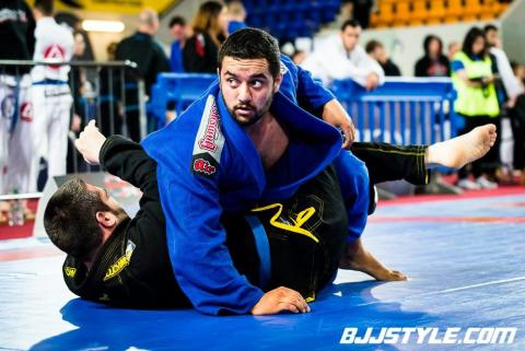 Ashley Amos on his way to gold at the BJJ British Open 2015