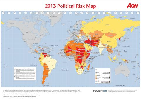 Aon's 2013 Interactive Political Risk Map draws on fifteen years of emerging markets data collection