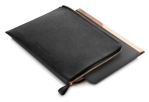 HP Spectre 13.3 Split Leather Sleeve, left facing in use
