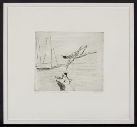 """Torsten Renqvist: """"Hunden, fågeln, båten"""", etsning, 1954. Ross Tensta Gymnasiums konstamling."""