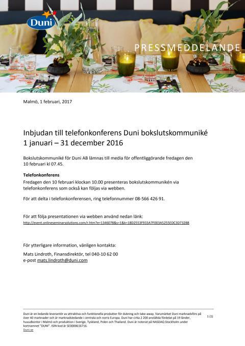 Inbjudan till telefonkonferens Duni bokslutskommuniké 1 januari – 31 december 2016