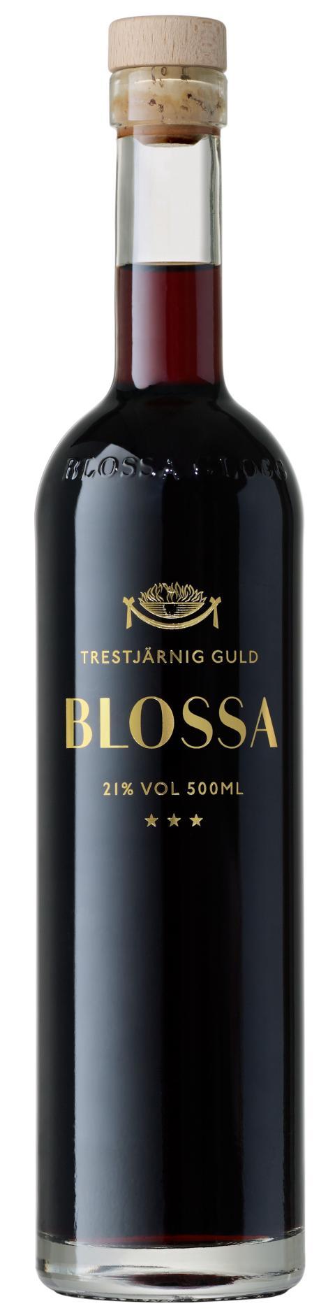 Blossa Trestjärnig Guld, flaskbild