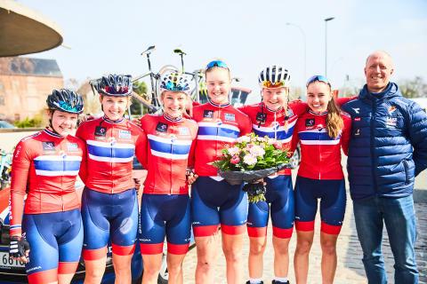 Den norske laget etter pallplass i Gent-Wevelgem 2018