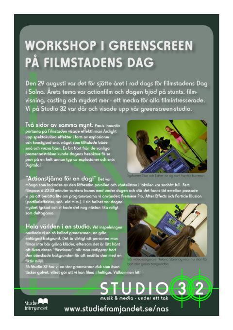 Workshop i greenscreen på Filmstadens Dag