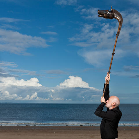 John Kenny with the Carnyx, Scotland's 2,000-year-old Celtic Boar-headed horn that originates from Deskford