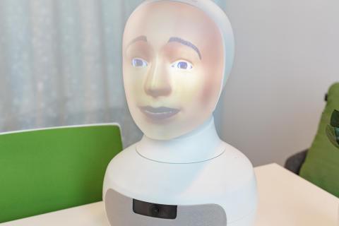 Close up Tengai - the world's first unbiased social interview robot