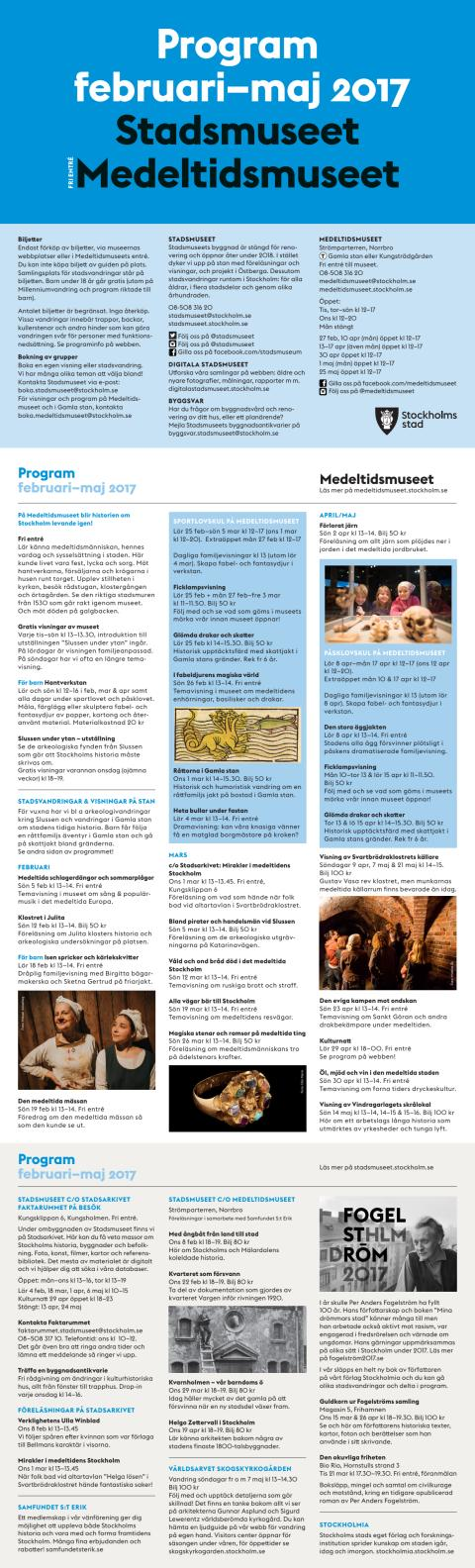 Vårens program 2017 för Stadsmuseet och Medeltidsmuseet