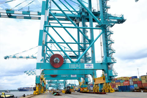 Reel power: Cavotec motorised cable reels on ZPMC cranes at PTP in Malaysia.
