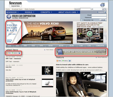 "Screenshot - news on Volvo Cars Newsroom ""Box of good stories"" 2008"