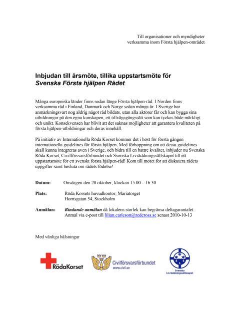 Inbjudan till årsmöte/ uppstartsmöte för Svenska Första hjälpen Rådet