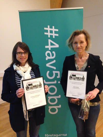 Södertäljes mest företagarvänliga politiker 2014 är Veronica Wästergård (kd) och Boel Godner (s)