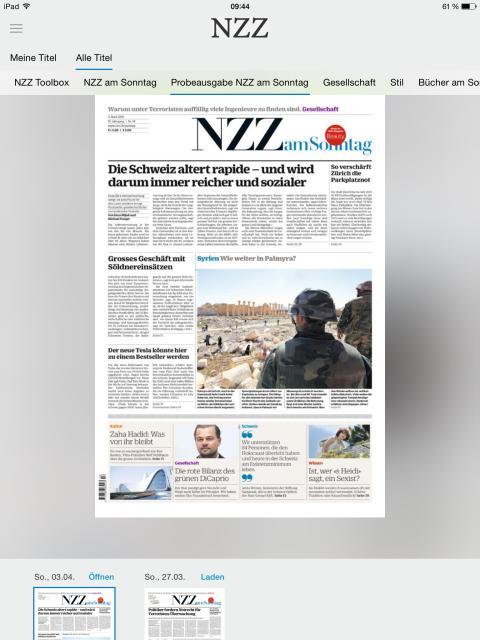 """Neue Zurcher Zeitung - digitale und verbessert (Lesemodus """"Zeitung)"""