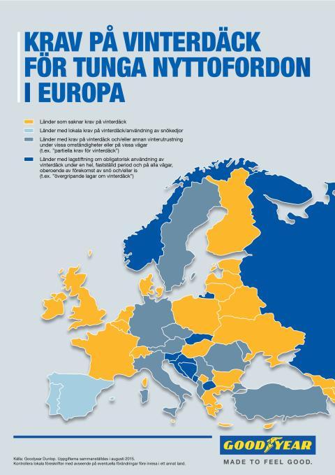 Goodyear varnar åkeriföretagen: Reglerna för vinterdäck varierar inom Europa