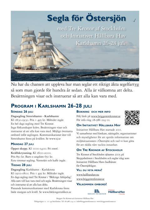 Program för Tre Kronor i Karlshamn 2015