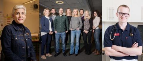 Eriksbergsskolans rektor Anna Pilebro, delar av Nackas robotiseringsteam och Petter Tuorda, verksamhetschef Cederkliniken