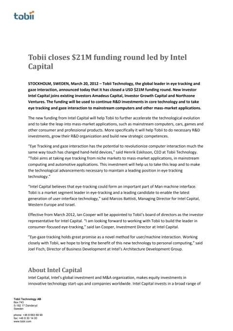 Tobii closes $21M funding round led by Intel Capital