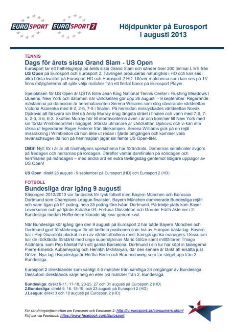 Eurosports höjdpunkter i augusti - dokument