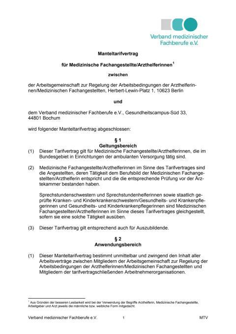 Manteltarifvertrag für Medizinische Fachangestellte/Arzthelferinnen (gültig bis 31.03.2017)