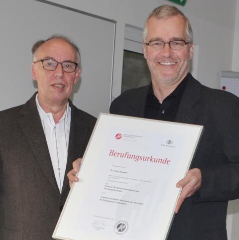 HdWM-Präsident Prof. Dr. Michael Nagy beruft Dr. Frank Stäudner zum Professor