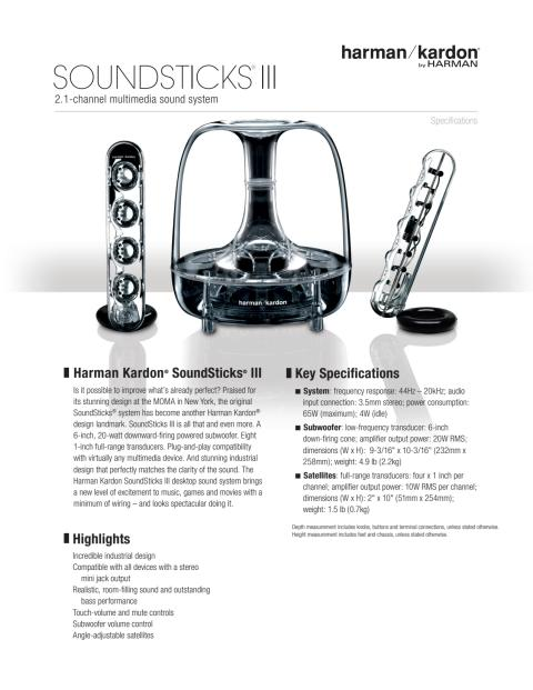 Specification sheet - harman kardon Sound Sticks III (English)