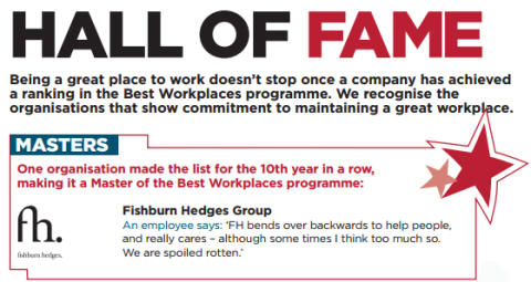 Fishburn Hedges Group: Hall of Fame, Best Workplaces