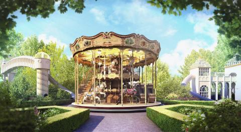 Lisebergs nya tvåvåningskarusell: Blomsterkarusellen