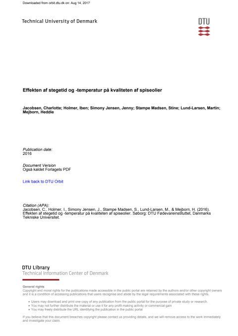 Rapport Effekten af stegetid og temperatur pga kvaliteten af spiseolier