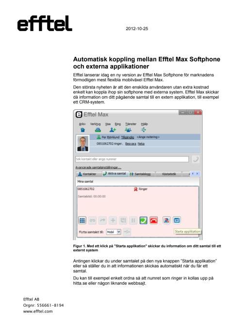 Integration mellan Efftel Max mobil växel och externa applikationer