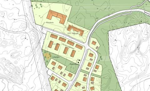 Karta över Lärketorpet där den nya bebyggelsen planeras.