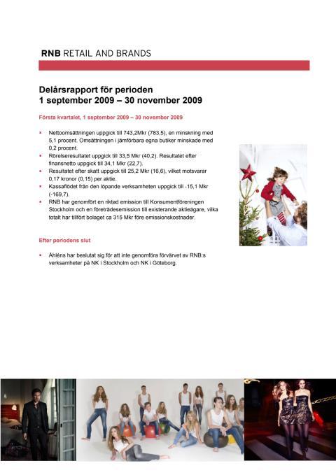 Delårsrapport för perioden 1 september - 30 november 2009
