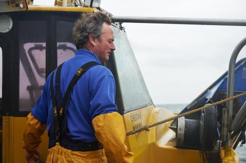 Geoff Blake, fiskare, Isle of Wight, United Kingdom