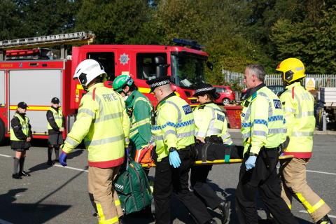 Re-enactment of scrambler bike crash