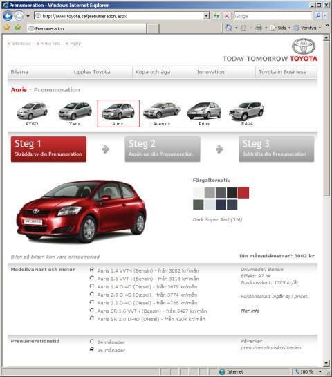 Toyota prenumerationssajt