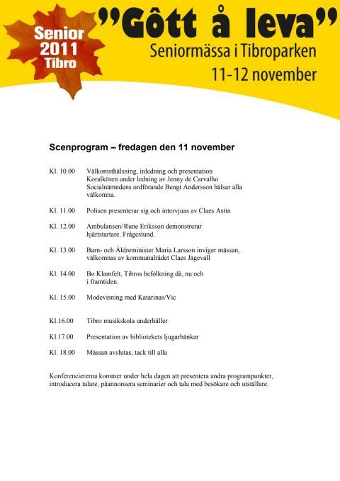 Program för seniormässan i Tibro Folkets Park den 11-12 november 2011