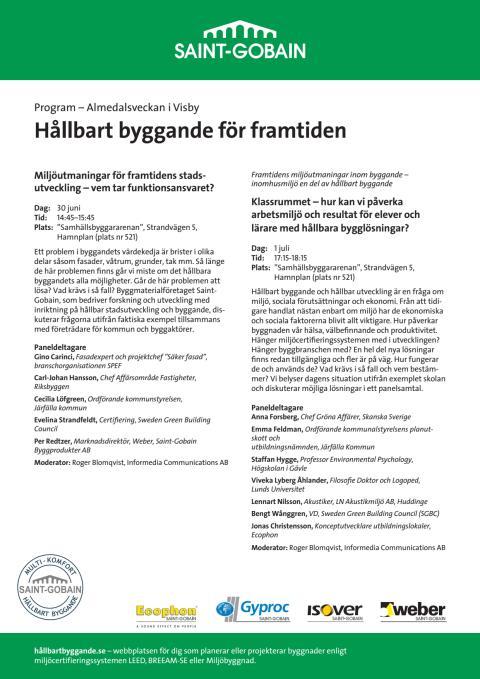 Saint-Gobains seminarieprogram Almedalen 2014