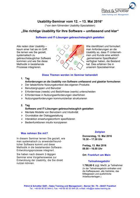 Agenda/Anmeldung Usability-Seminar